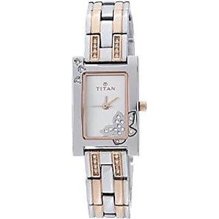 Titan Analog Silver Rectangle Watch -9716KM01