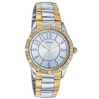 Titan Quartz Silver Dial Women Watch-9862BM01