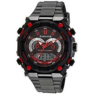 Sonata Quartz Black Dial Mens Watch-77030PP01