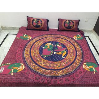 Akash Ganga Jaipuri Cotton Double Bedsheet with 2 Pillow Covers (Jaipuri-01)