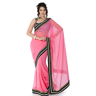 Salmon pink faux georgette saree with unstitched blouse (nlm1362)