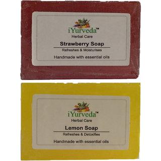 iYurveda  Herbal Strawberry & Lemon Soap Pack x 2