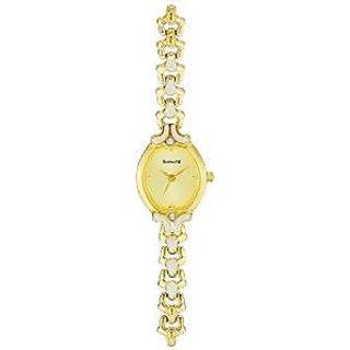 Sonata Quartz Gold Dial Women Watch-8068ym02