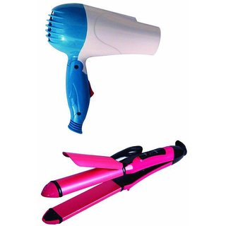 2 in 1 Hair Straightener (NHC 2009) Curler Hair Beauty Set And NHD-1000WT Foldable Dryer Combo by V&G