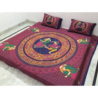 Akash Ganga Multi-Colour Jaipuri Cotton Double Bedsheet with 2 Pillow Covers (Jaipuri-04)