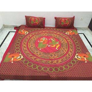 Akash Ganga Jaipuri Cotton Double Bedsheet with 2 Pillow Covers (Jaipuri-05)