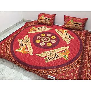 Akash Ganga Jaipuri Cotton Double Bedsheet with 2 Pillow Covers (Jaipuri-08)