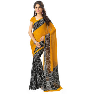 Vaamsi Yellow Chiffon Printed Saree With Blouse