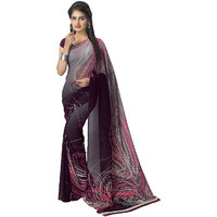 Vaamsi Black Georgette Printed Saree With Blouse