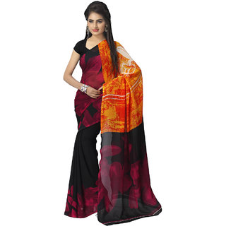 Vaamsi Black Georgette Printed Saree With Blouse