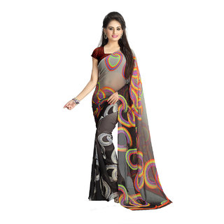 Vaamsi Multicolor Georgette Printed Saree With Blouse