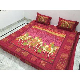 Akash Ganga Jaipuri Cotton Double Bedsheet with 2 Pillow Covers (Jaipuri-18)