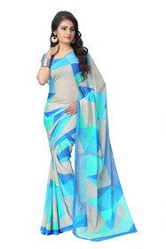 Vaamsi Blue Chiffon Printed Saree With Blouse