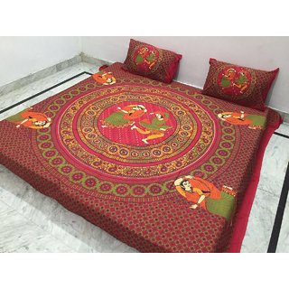 Akash Ganga Pure Cotton Double bedsheet with 2 Pillow Covers (Jaipuri-19)