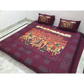 Akash Ganga Jaipuri Print Double Bedsheet with 2 Pillow Covers (Jaipuri-22)