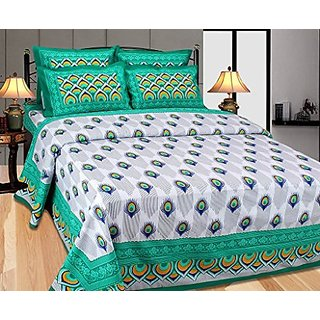 Akash Ganga Green Cotton Double Bedsheet with 2 Pillow Covers (Cotton02)