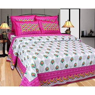 Akash Ganga Pink Cotton Double Bedsheet with 2 Pillow Covers (Cotton03)