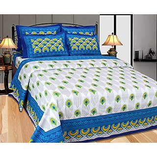 Akash Ganga Blue Cotton Double Bedsheet with 2 Pillow Covers (Cotton04)