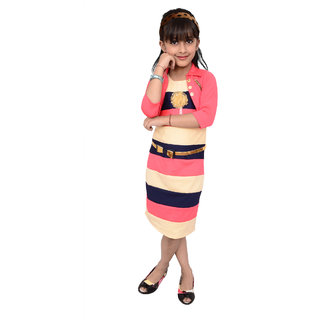 Meia for girls multi color striped Midi dress with Jacket