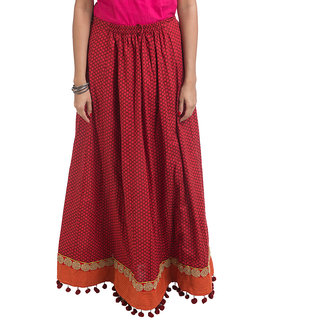 Navrachna Red Embroidered Cotton Skirts