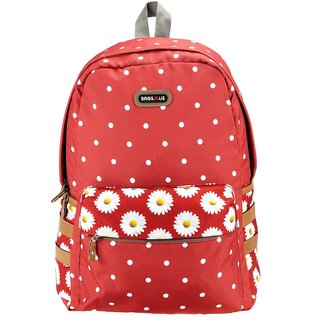 BagsRus Polka Dots Maroon Polyester Womens Backpack