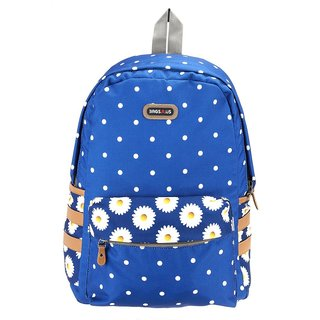 BagsRus Polka Dots Navy Blue Polyester Womens Backpack
