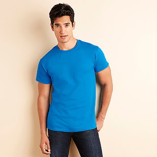 Men Sky Blue Round Neck T-Shirt