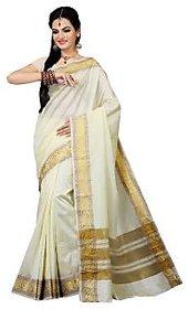 Mokanc White Dupion Silk Printed Saree With Blouse