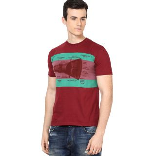 Shanty Stylish Men's Maroon Graphic Cotton T-Shirt