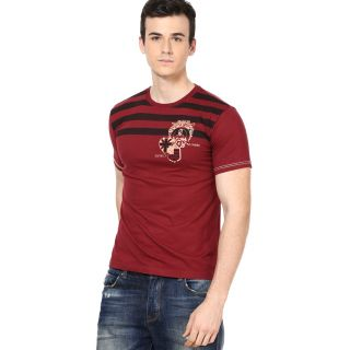 Shanty Men's Maroon Graphic Cotton T-Shirt