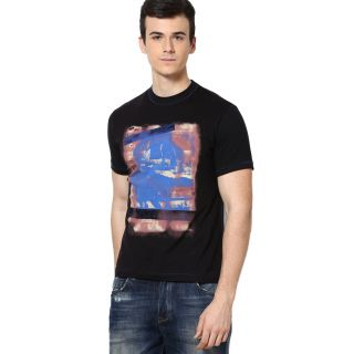 Shanty Stylish Men's Black Graphic Cotton T-Shirt