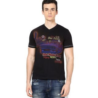 Shanty Men's Black Graphic Cotton T-Shirt