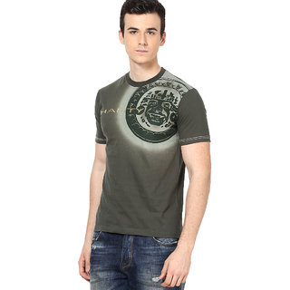 Shanty Stylish Men's Olive Graphic Cotton T-Shirt