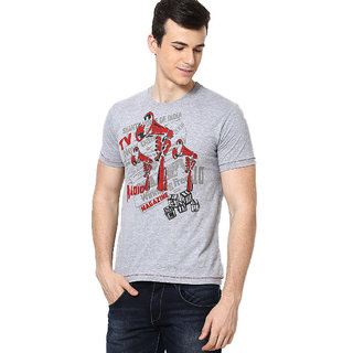 Shanty Stylish Men's Grey Melange Graphic Cotton T-Shirt