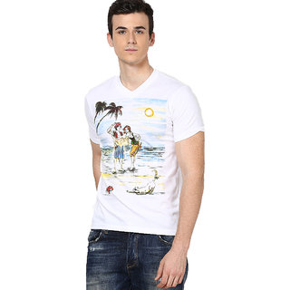 Shanty Men's White Beach Print Cotton T-Shirt