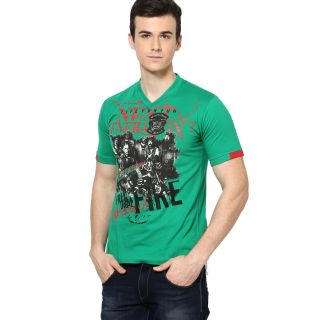 Shanty Trendy Men's Green Graphic Cotton T-Shirt