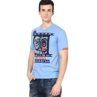 Shanty Stylish Men's Indigo Graphic Cotton T-Shirt