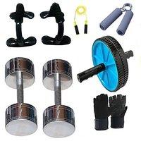 Krazy Fitness Exercise Equipments With 2 Pc. 1 Kg Steel Chrome Dumbells Gym  Fitness Kit