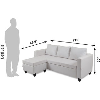 Housefull - DAVIS L-SHAPE SOFA WHITE