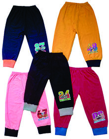Om Shree Multicolour Kids Cotton Track Pant With Rip (Set Of 5) (0-5 yrs)