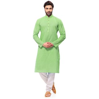 RG Designers Handloom Green Kurta Pyjama set