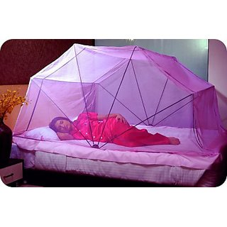 Easy Mosquito Net Foldable Type Mosquito Net - Original Poly-Cotton - Single - 3x6 1/4 Mosquito Net (Baby Pink)