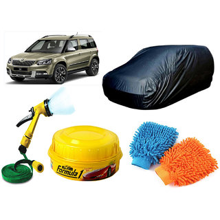 CreativeVia Car Cover, Formula1,Water Spary Gun, Hand Gloves For Skoda Yeti
