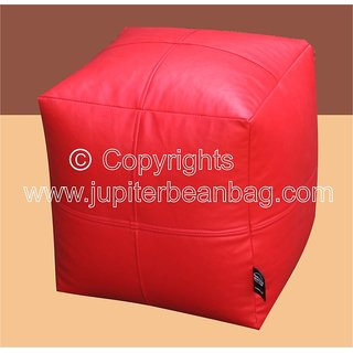 JUPITER Bean Bag Cube -Red - Soft Leather Feel - Cover Only
