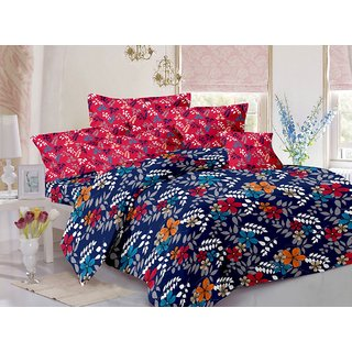 Welhouse Cotton Floral Blue Double Bedsheet with 2 Contrast Pillow Covers(TC-129)