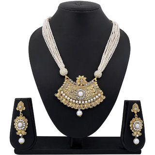 Meenaz Traditional Necklace Sets Jewellery Sets Gold Plated With Earrings For Women,Girls NL101