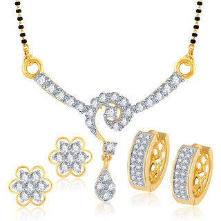 Meenaz Mangalsutra Jewellery Set bo Gold Plated For Women  - COM106