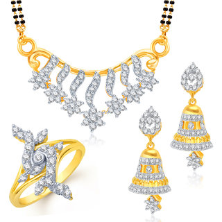 Meenaz Mangalsutra Jewellery Set bo Gold Plated For Women  - Com1088