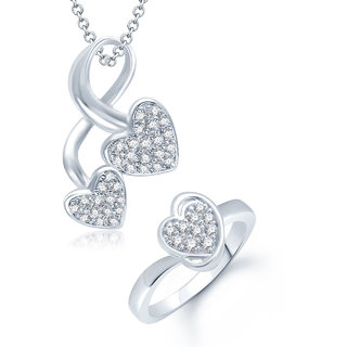 Meenaz Pendant Set bo Silver Plated CZ With American Diamond For Girls  Women  - Com10916