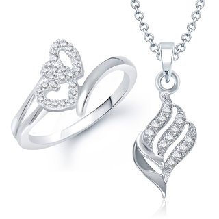 Meenaz Pendant Set bo Silver Plated CZ With American Diamond For Girls  Women  - Com11012